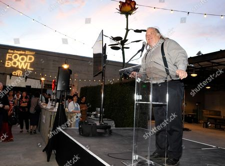 Writer Jonathan Gold seen at the Los Angeles Times Food Bowl launch party at Manuela and Hauser and Wirth, in Los Angeles
