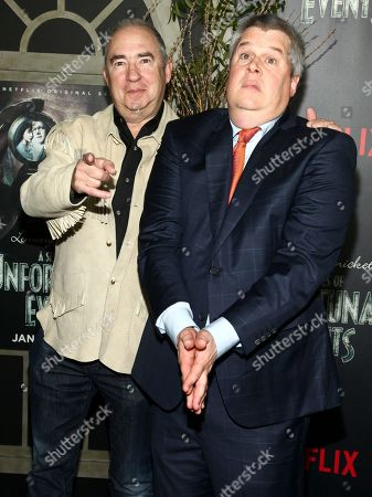 "Barry Sonnenfeld, left, and Daniel Handler, right, attend the world premiere of Netflix's ""Lemony Snicket's A Series of Unfortunate Events"" at AMC Loews Lincoln Square, in New York"