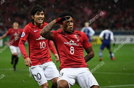 (R-L) Rafael da Silva, Yosuke Kashiwagi (Reds) - Football / Soccer : Rafael da Silva of Urawa Reds celebrates after scoring the winning goal during the AFC Champions League Final 2nd leg match