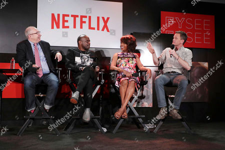 Director Barry Sonnenfeld, K. Todd Freeman, Alfre Woodard and Neil Patrick Harris at 'A Series of Unfortunate Events' panel Q&A at Netflix FYSee exhibit space, in Los Angeles, CA