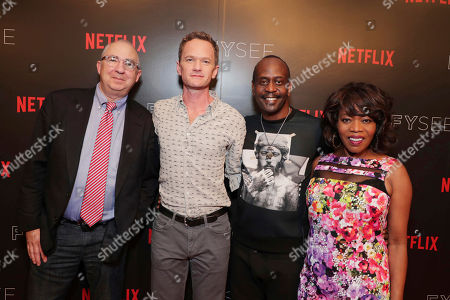 Director Barry Sonnenfeld, Neil Patrick Harris, K. Todd Freeman and Alfre Woodard at 'A Series of Unfortunate Events' panel Q&A at Netflix FYSee exhibit space, in Los Angeles, CA