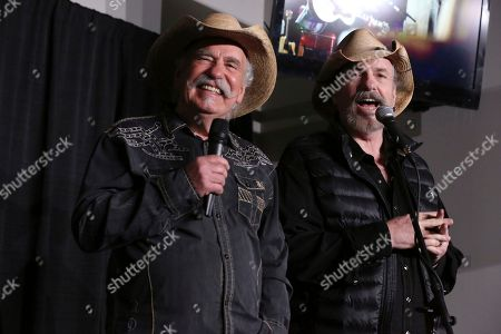 """Artists Howard Bellamy and David Bellamy of The Bellamy Brothers speak at a press conference before the """"1 Night. 1 Place. 1 Time.: A Heroes and Friends Tribute to Randy Travis"""" at Bridgestone Arena on in Nashville, Tenn"""