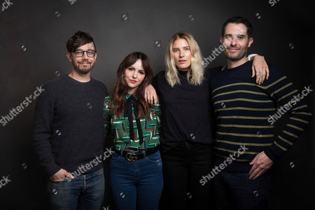 """Stock Image of Actors Jorma Taccone, from left, Michelle Morgan and Dree Hemingway pose for a portrait with producer Ryland Aldrich to promote the film, """"L.A. Times"""", at the Music Lodge during the Sundance Film Festival, in Park City, Utah"""