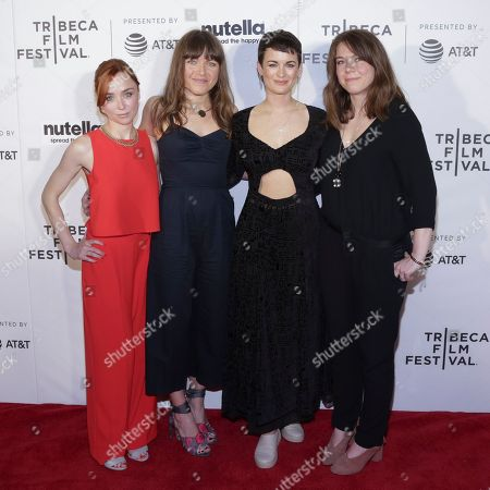 """Actress/Writer/Producer Emily Taaffe, from left, Producer Rebecca Cronshey and Georgia Oakley attend a screening of """"Little Bird"""" at Regal Battery Park Stadium 11 during the 2017 Tribeca Film Festival on in New York"""