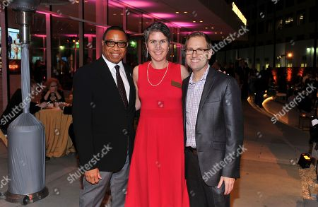 Xx, from left, Heather Cochran, Television Academy CFO/EVP business operations, and Maury McIntyre, Television Academy president and COO, are seen at 38th College Television Awards presented by the Television Academy Foundation at the Saban Media Center, in the NoHo Arts District in Los Angeles