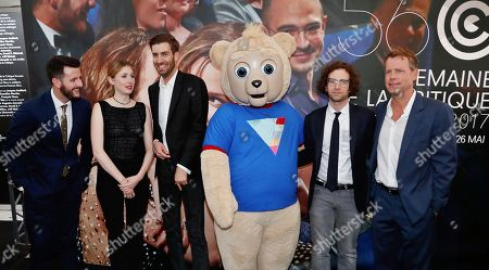 From left, screenwriter Kevin Costello, actress Kate Lyn Sheil, director Dave McCary, Brigsby Bear, screenwriter and actor Kyle Mooney and actor Greg Kinnear seen at the BRIGSBY BEAR screening for Sony Pictures Classics at the Miramar theatre on in Cannes, France