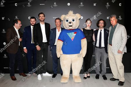 From left, president of Sony Pictures Classics Michael Baker, director Dave McCary, actor Greg Kinnear, Brigsby Bear, actress Kate Lyn Sheil, screenwriter and actor Kyle Mooney and president of Sony Picture Classics Tom Bernard seen at the BRIGSBY BEAR screening for Sony Pictures Classics at the Miramar theatre on in Cannes, France