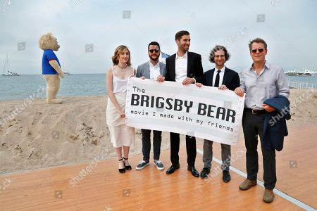 Actors from left Kate Lyn Sheil, screenwriter Kevin Costello, director Dave McCary, screenwriter and actor Kyle Mooney and actor Greg Kinnear at the BRIGSBY BEAR photo call for Sony Pictures Classics at the Plage Royale on in Cannes, France