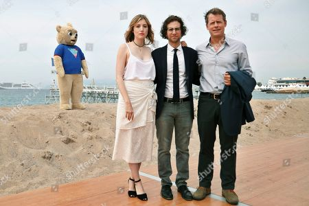 From back left, Brigsby Bear, from front left, actress Kate Lyn Sheil, screenwriter and actor Kyle Mooney and actor Greg Kinnear at the BRIGSBY BEAR photo call for Sony Pictures Classics at the Plage Royale on in Cannes, France