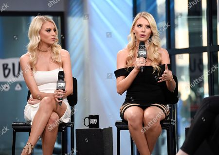 "Television personalities Emily Ferguson, left, and Haley Ferguson participate in the BUILD Speaker Series to discuss the television series ""The Twins: Happily Ever After?"" at AOL Studios, in New York"