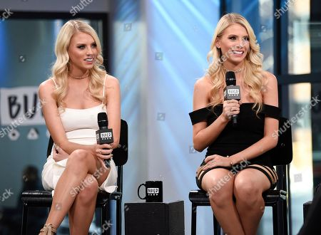 """Television personalities Emily Ferguson, left, and Haley Ferguson participate in the BUILD Speaker Series to discuss the television series """"The Twins: Happily Ever After?"""" at AOL Studios, in New York"""