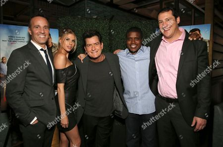 """Stock Picture of EVP and GM of Crackle Eric Berger, Charlotte McKinney, Executive Producer and star Charlie Sheen, Tony Todd and Head of Development of Crackle John Orlando seen at the Crackle Original Movie """"Mad Families"""" Premiere Party at Catch LA, in West Hollywood, Calif"""