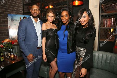 """Finesse Mitchell, Charlotte McKinney, Tiffany Haddish and Naya Rivera seen at the Crackle Original Movie """"Mad Families"""" Premiere Party at Catch LA, in West Hollywood, Calif"""