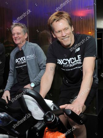 IMAGE DISTRIBUTED FOR CYCLE FOR SURVIVAL - Michael Bacon, left, and Kevin Bacon, The Bacon Brothers, ride at a Cycle for Survival event in New York, . 100 percent of funds raised by Cycle for Survival go to groundbreaking rare cancer research led by Memorial Sloan Kettering Cancer Center