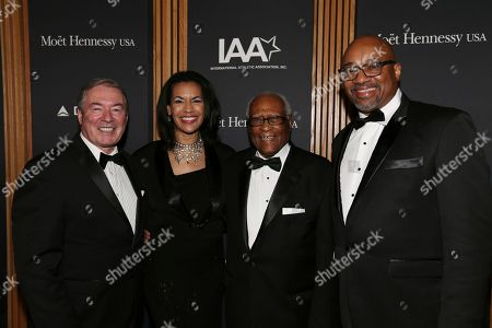 Left to right, Jim Clerkin, President and CEO, Moët Hennessy North America, Fredericka Whitfield, gala MC & CNN news anchor, Herb Douglas, Jr., IAA Founder and former Olympian and Rodney Williams, Chief Marketing Officer and Executive Vice President, Spirits at Moët Hennessy USA, attend the Jesse Owens International Athlete Trophy Gala at Jazz at Lincoln Center, in New York. The evening bestowed awards upon tennis player, Olympian & philanthropist, Serena Williams, and the late great Muhammad Ali for their athletic and philanthropic achievements. Established in 1981 by the International Athletic Association (IAA), the prestigious awards recognize sports legends who exemplify the ideals embodied by Olympian and humanitarian Jesse Owens: integrity, perseverance and service
