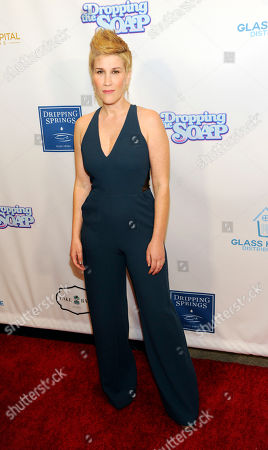 """Stock Photo of Kate Mines, a cast member, writer and producer of """"Dropping the Soap,"""" poses at the premiere of the web series at the Writers Guild Theatre, in Beverly Hills, Calif"""