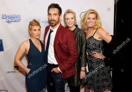 """Stock Picture of From left, Kate Mines, Paul Witten, Jane Lynch and Suzanne Friedline, cast members in """"Dropping the Soap,"""" pose together at the premiere of the web series at the Writers Guild Theatre, in Beverly Hills, Calif"""