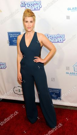 "Stock Photo of Kate Mines, a cast member, writer and producer of ""Dropping the Soap,"" poses at the premiere of the web series at the Writers Guild Theatre, in Beverly Hills, Calif"