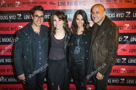 Greg Williams, from left, Joyce Varvatos and John Varvatos attend Love Rocks NYC! at the Beacon Theatre on in New York
