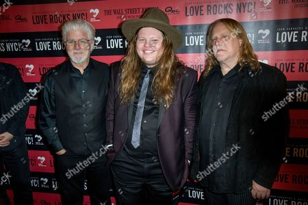 Michael McDonald, from left, Marcus King and Warren Haynes attend Love Rocks NYC! at the Beacon Theatre on in New York