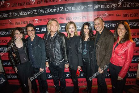 Greg Williams, second from left, Joe Walsh, Marjorie Bach, Joyce Varvatos, John Varvatos and Karen Pearl attend Love Rocks NYC! at the Beacon Theatre on in New York