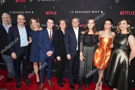 Exec. Producer Brian Yorkey, Exec. Producer Tom McCarthy, President of Paramount Television and Digital Entertainment Amy Powell, Dylan Minnette, Netflix VP, Original Content Cindy Holland, Netflix Chief Content Officer Ted Sarandos, Katherine Langford, Exec. Producer Selena Gomez and Exec. Producer Mandy Teefey seen at Netflix '13 Reasons Why' Premiere at Paramount Studios, in Los Angeles, CA