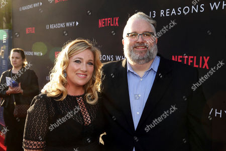 Exec. Producer Joy Gorman Wettels and Exec. Producer Brian Yorkey seen at Netflix '13 Reasons Why' Premiere at Paramount Studios, in Los Angeles, CA