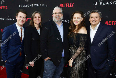 Dylan Minnette, Netflix VP, Original Content Cindy Holland, Exec. Producer Brian Yorkey, Katherine Langford and Netflix Chief Content Officer Ted Sarandos seen at Netflix '13 Reasons Why' Premiere at Paramount Studios, in Los Angeles, CA