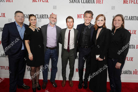 Netflix Chief Content Officer - Ted Sarandos, Drew Barrymore, Exec. Producer Victor Fresco, Skyler Gisondo, Timothy Olyphant, Liv Hewson and Netflix VP Original Content Cindy Holland seen at at the Netflix 'Santa Clarita Diet' premiere at the ArcLight Cinerama Dome on Wednesday, February 1st, 2017, in Los Angeles, CA