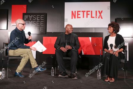 Dominic Patten, Creator Cheo Hodari Coker and Alfre Woodard seen at 'Marvel's Luke Cage' panel Q&A at Netflix FYSee exhibit space, in Los Angeles