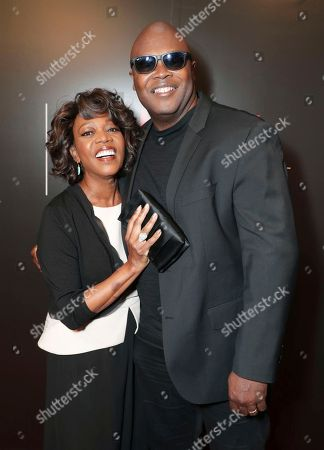 Alfre Woodard and Creator Cheo Hodari Coker seen at 'Marvel's Luke Cage' panel Q&A at Netflix FYSee exhibit space, in Los Angeles