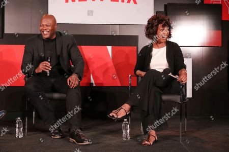 Creator Cheo Hodari Coker and Alfre Woodard seen at 'Marvel's Luke Cage' panel Q&A at Netflix FYSee exhibit space, in Los Angeles