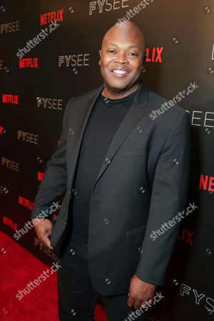 Creator Cheo Hodari Coker seen at 'Marvel's Luke Cage' panel Q&A at Netflix FYSee exhibit space, in Los Angeles