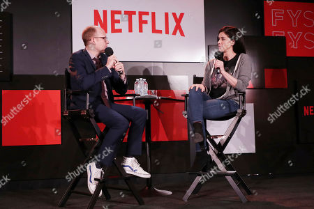 Chris Ryan and Sarah Silverman seen at 'Sarah Silverman A Speck of Dust' panel Q&A at Netflix FYSee exhibit space, in Los Angeles, CA