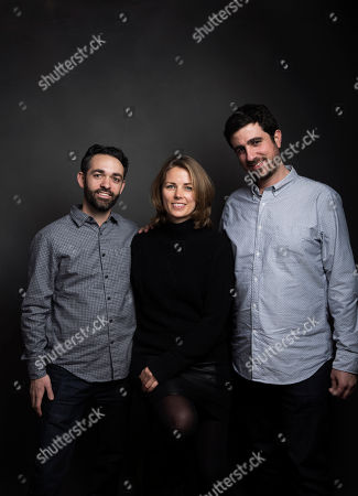 "Director Adam Sobel, from left, producer Rosie Garthwaite and producer Ramzy Haddad pose for a portrait to promote the film, ""The Workers Cup"", at the Music Lodge during the Sundance Film Festival, in Park City, Utah"