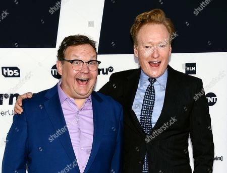 Talk show host Conan O'Brien, right, and his comic sidekick Andy Richter attend the Turner Network 2017 Upfront presentation at The Theater at Madison Square Garden, in New York