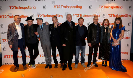 L-R) Director Danny Boyle, Actors Ewan McGregor, Ewan Bremner, John Hodge, Novelist Irvine Welsh, actors Robert Carlyle, Johnny Lee Miller, Shirley Henderson and Anjela Nedyalkova poses for photographers upon arrival at the World Premiere of the film 'T2 Trainspotting', in Edinburgh