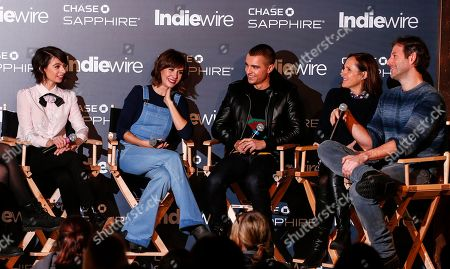 "Actress Kate Micucci, left, actress Alison Brie, actor Dave Franco, actress Molly Shannon and director Jeff Baena from ""The Little Hours"" talk during the ""Indiewire in Conversation"" panel Chase Sapphire on Main, during the 2017 Sundance Film Festival, in Park City, Utah"