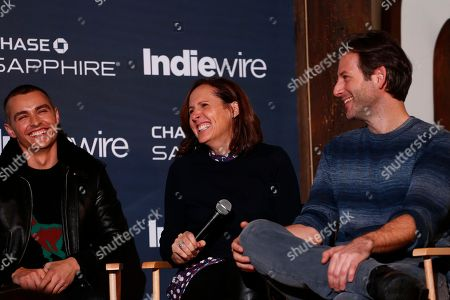 "Actor Dave Franco, left, actress Molly Shannon and director Jeff Baena from ""The Little Hours"" laugh during the ""Indiewire in Conversation"" panel Chase Sapphire on Main, during the 2017 Sundance Film Festival, in Park City, Utah"