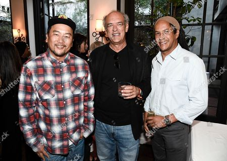Stock Picture of From left to right, chef Roy Choi, talent agent Shep Gordon, and chef Govind Armstrong at the Los Angeles Times Food Bowl Gold Award Party at Spago, in Beverly Hills, Calif