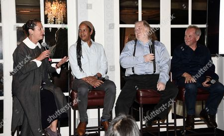 Stock Photo of From left to right, chef Nancy Silverton, chef Govind Armstrong, Los Angeles Times Food Critic Jonathan Gold, and chef Wolfgang Puck at the Los Angeles Times Food Bowl Gold Award Party at Spago, in Beverly Hills, Calif