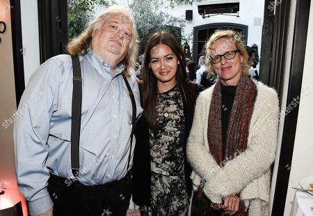 From left to right, Los Angeles Times Food Critic Jonathan Gold, Los Angeles Times Food Deputy Editor Jenn Harris, and Los Angeles Times Food Editor Amy Scattergood at the Los Angeles Times Food Bowl Gold Award Party at Spago, in Beverly Hills, Calif