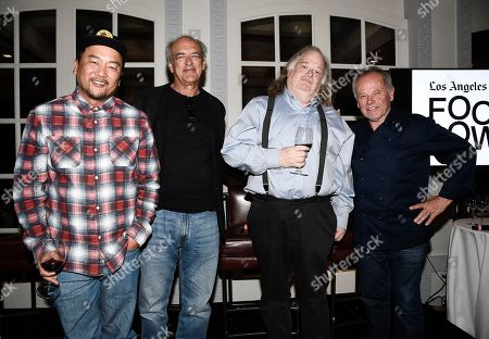 From left to right, chef Roy Choi, talent agent Shep Gordon, Los Angeles Times Food Critic Jonathan Gold, and chef Wolfgang Puck at the Los Angeles Times Food Bowl Gold Award Party at Spago, in Beverly Hills, Calif