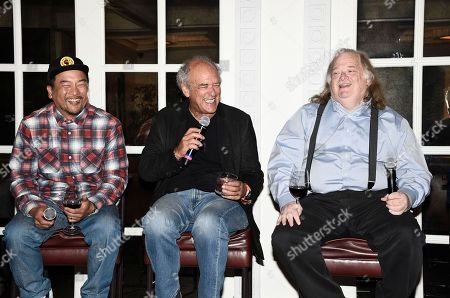 From left to right, chef Roy Choi, talent agent Shep Gordon, and Los Angeles Times Food Critic Jonathan Gold at the Los Angeles Times Food Bowl Gold Award Party at Spago, in Beverly Hills, Calif