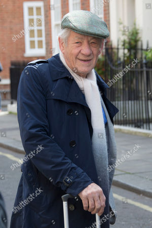 Actor Sir Ian McKellen arrives for the unveiling of a blue plaque commemorating Sir John Gielgud in central London, outside the Westminster home where he lived for 31-years, . The blue plaque commemorates famed English actor and director Gielgud whose career spanned eight decades until his death in May 2000