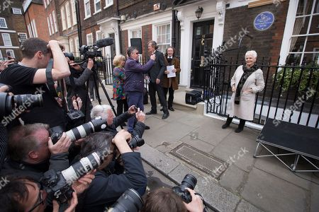 Stock Picture of Actress Judi Dench is photographed after unveiling a blue plaque commemorating Sir John Gielgud in central London, outside the Westminster home where he lived for 31-years, . The blue plaque the famed English actor and director Gielgud whose career spanned eight decades until his death in May 2000
