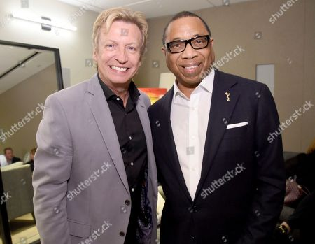 Nigel Lythgoe, left, and Hayma Washington, Chairman and CEO of the Television Academy, attend the Television Academy's sold out member event, Mike Darnell: Reality TV's Great Provocateur, at the Saban Media Center on in North Hollywood, Calif