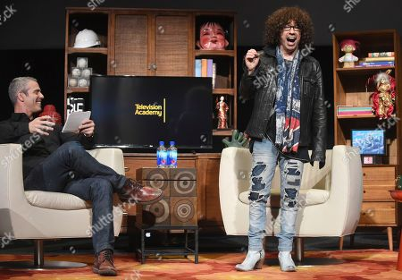 Andy Cohen, left, and Mike Darnell engage in a lively discussion during the Television Academy's member event, Mike Darnell: Reality TV's Great Provocateur, in the Wolf Theatre at the Saban Media Center in North Hollywood, Calif