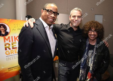 Hayma Washington, Chairman and CEO of the Television Academy, from left, Andy Cohen, and Mike Darnell attend the Television Academy's sold out member event, Mike Darnell: Reality TV's Great Provocateur at the Saban Media Center on in North Hollywood, Calif