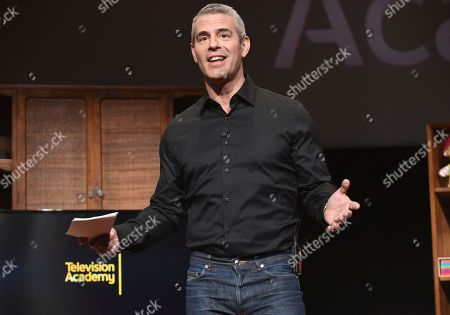 Andy Cohen hosts a lively discussion during the Television Academy's member event, Mike Darnell: Reality TV's Great Provocateur, in the Wolf Theatre at the Saban Media Center in North Hollywood, Calif